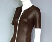 1960s Mod Bond Girl Chocolate Glazed Catsuit  - Tight & Shiny - Zips
