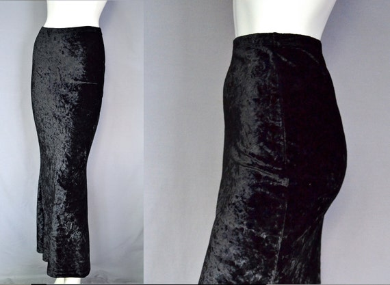 Witchy Crushed Velvet Maxi Skirt - SLINKY - Clingy - Stretch - 90s