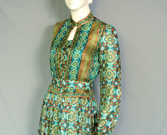 60s Green INDIA SILK Maxi Dress w/ Jacket - COLORFUL - Lightweight - Breezy - Hippie - S