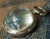 Mysterious Vintage Gold/Silver Tone Metal Watch Casing Resin Face Pendant Necklace-OOAK
