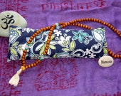 Lavender and flax seed eye pillow navy and white floral,  for relaxation, meditation, yoga, savasana