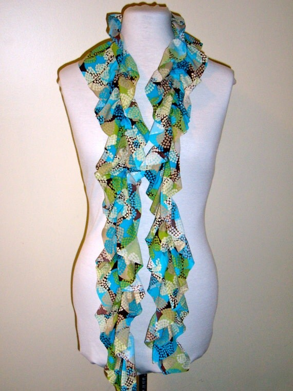 Jersey knit scarf with elastic ruffle, turquoise and brown floral print