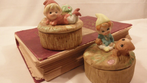 2 Vintage Elf or Gnome Trinket Boxes with Mushrooms