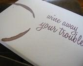 Wino funny sassy letterpress greeting card