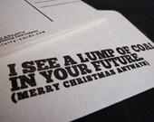 Christmas lump of coal future holiday card coaster postcard