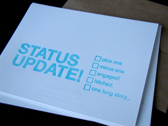 status update witty note greeting card letterpress set of 3