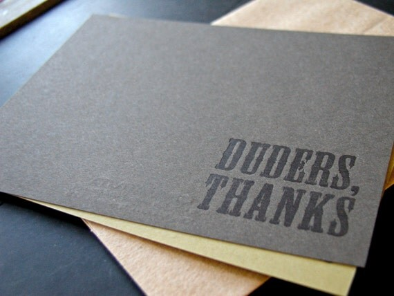 Duders Thanks flat thank you notecard