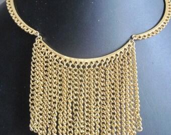 Vintage Gold Fringe Necklace