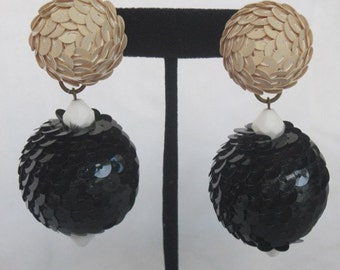 Vintage 1980's  XL Ball Sequins Earrings