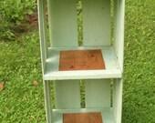 Vintage Green Orange Crate Bookshelf with Label