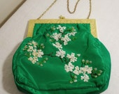 Vintage Green Satin Purse with Sequin Beaded Flowers