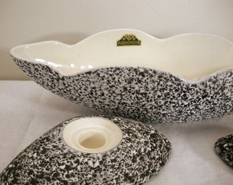 Vintage Black & White Spattered Bowl with Candle Holders