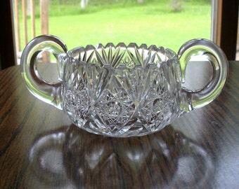SALE - Vintage Pressed Glass Sugar Bowl