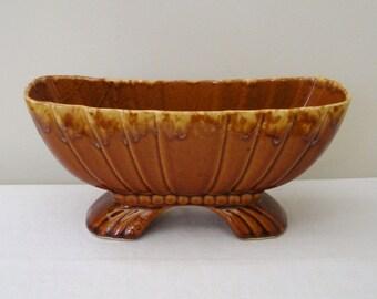 Vintage Brown Drip Glaze Footed Planter