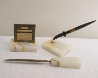 Antique 3 Pc. Onyx Desk Set - Pen Calendar Letter Opener
