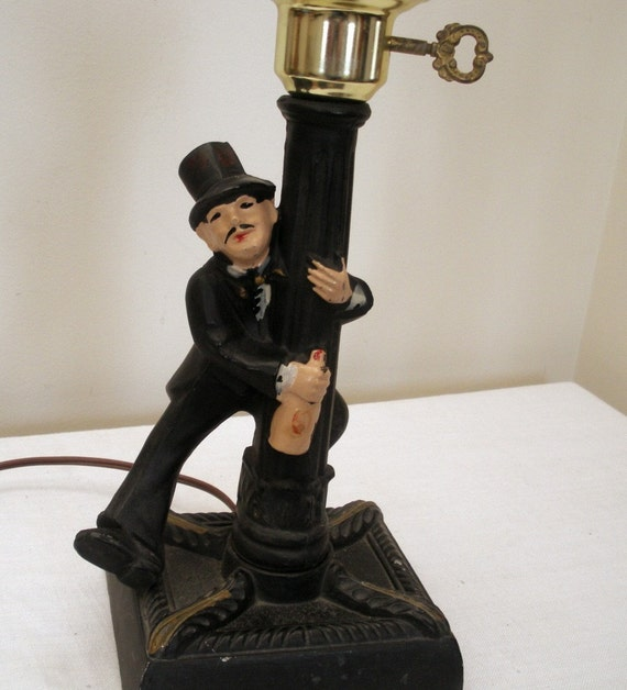 Vintage Cast Iron Musical Bar Lamp Drunk At Lamp Post
