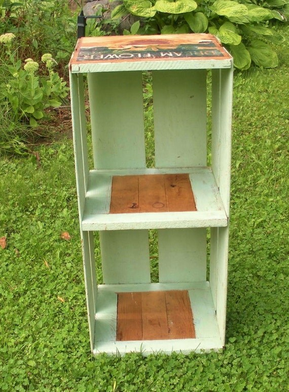 Vintage Green Orange Crate Bookshelf with Label