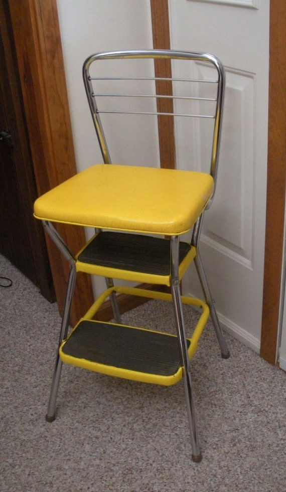 Vintage Cosco Yellow Kitchen Step Stool Chair