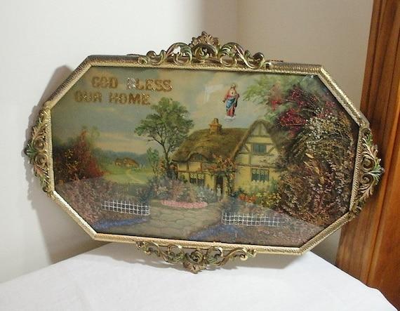 Vintage Ornate Bubble Glass Frame - Cottage Garden Print