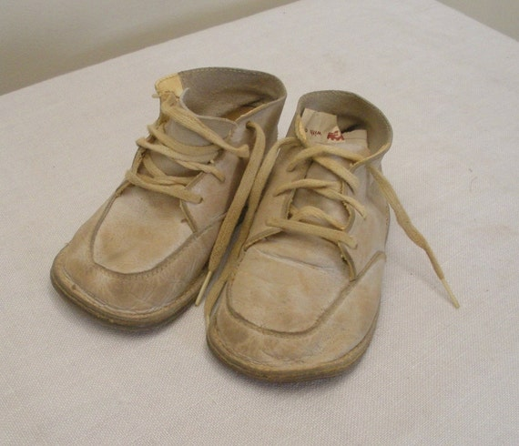 Vintage Well Worn White Leather Baby Shoes