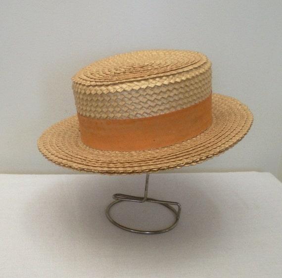 Antique 1920s Men's Straw Boater Hat - Italian Palm