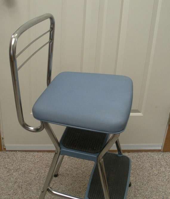 Vintage Blue And Chrome Cosco Kitchen Step Stool