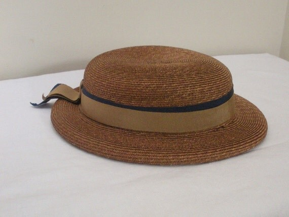 Antique Straw Ladies Boater Hat - School Girl