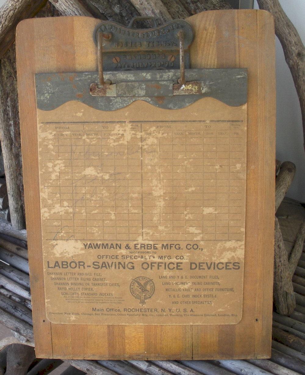 Antique Wood Metal Clipboard Original Advertising