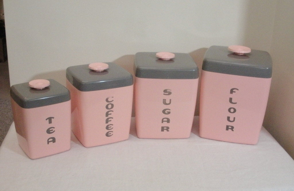 Vintage pink grey plastic canister set - Pink tea and coffee canisters ...