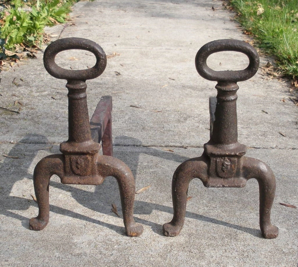 Antique Arts Crafts Cast Iron Andirons