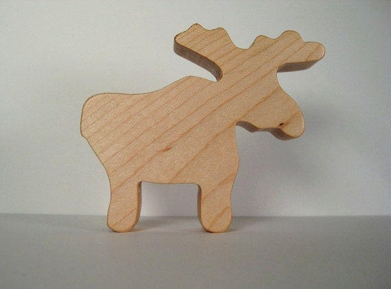 Natural Wood Toy / Teether Moose