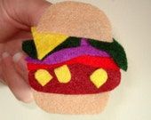 Eco-Friendly Jewelry Veggie Hamburger Pin Brooch Made from Recycled Felt