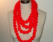 Valentines Day Pom Pom Statement Necklace in Cherry Red, Gift for Her, Layered Multistrand Necklace, Gift for Women