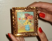 Flower Painting Brooch - Dollhouse Furniture Pin - Last one