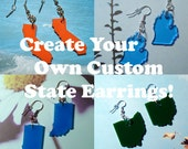 Personalized Jewelry Custom State Earrings Customizable Jewelry in Acrylic - Pick Color, Hooks, and State by purpleandlime