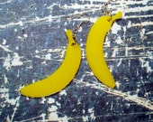 Banana Earrings - Yellow Acrylic Fake Food Jewelry - Dangle Earrings - Fruit Accessories