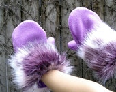 Faux Fur Mittens - Purple Pink and White Fur with Orchid Purple Fleece - purpleandlime