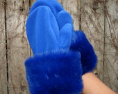 Blue Furry Mittens - Faux Fur with Royal Blue Fleece
