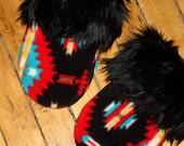 Faux Fur Mittens, Black Southwestern Print Fleece Fall Accessories
