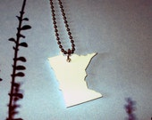 Minnesota Shape Necklace, White Laser Cut Acrylic, State Jewelry