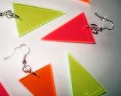 Neon Triangle Earrings, Dangle Earrings, Geometric Shapes in Pink, Green, or Orange Fluorescent Acrylic