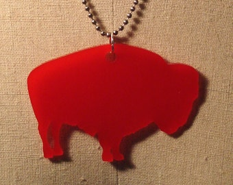 Bison Buffalo Necklace, Red Acrylic Large Size Southwestern Style Jewelry