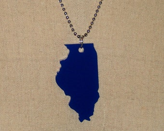 Illinois Necklace in Blue - State Shape Jewelry - Laser-Cut Acrylic