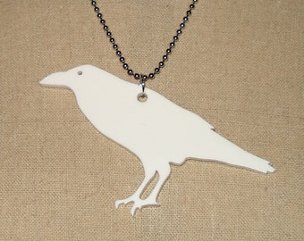 Crow Raven Necklace, Bird Jewelry, White Acrylic Necklace, Lasercut Jewelry