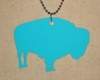 Turquoise Buffalo Bison Large Necklace, Southwestern Jewelry in Blue Acrylic