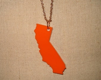 Orange California Necklace, Laser-Cut Acrylic US State Large Pendant, Gift for Her