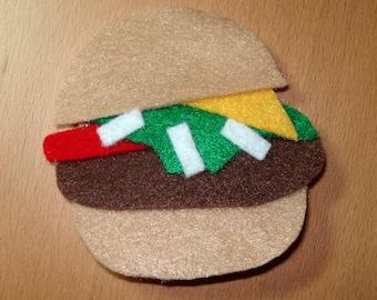 Sale! Cheeseburger Pin Brooch, Large Felt Brooch, Burger Pin, Fake Food Jewelry