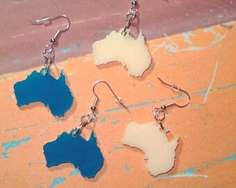 Australia Earrings in Blue or Cream Color, Australia Shape Jewelry