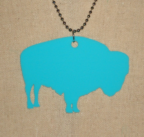 Turquoise Buffalo Bison Large Necklace, Southwestern Jewelry in Blue Acrylic