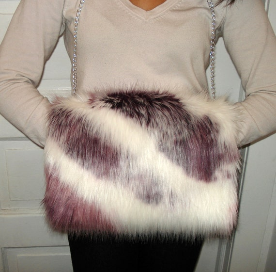 Faux Fur Handwarmer - Purple Pink Muff with Silver Look Chain Strap